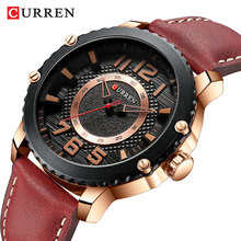 CURREN 2019 Fashion Mens Watch Rose Gold Case Waterproof Unique Quartz Business Sport Brown Leather Watches For Male Clock Reloj