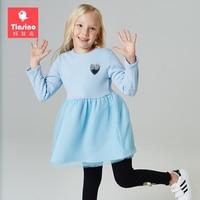 Tinsino Girls Winter Dresses Children Autumn Thicken Velvet Dress Kids Girl Cute Princess Mesh Dress Girls