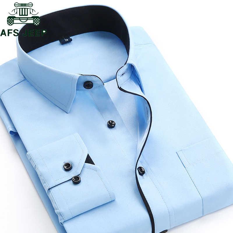 fd215f506d63d Brand Men Dress Shirts 2019 Casual Long Sleeve Slim Fit High Quality Solid  Business Men's Shirt
