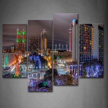 4 Panels Unframed Wall Art Pictures Bulidings Roads Light Canvas Print Modern City Posters No Frames For Living Room