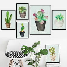 Vintage Potted Plants Cactus Wall Art Canvas Painting Nordic Posters And Prints Watercolor Pictures For Living Room Decor
