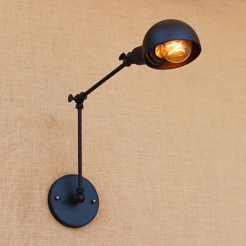 Nordique Loft Noir Vintage Réglable Bras Long Applique Applique Led