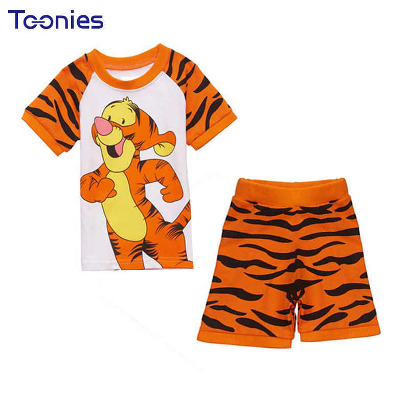 Hot Sale Baby Boys Girls Clothing Set Character Tiger Cotton Children Shirt + Pants Set Cartoon Clothes Casual Suits Summer Suit