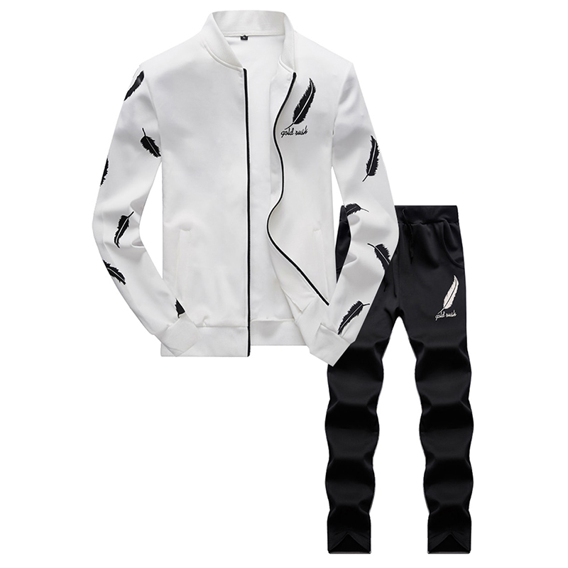 Male Casual Tracksuit Men 2 Piece  Set Stand Collar