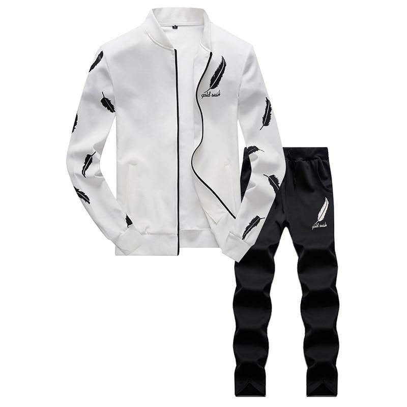 Men's Sportswear Sets Spring Autumn Male Casual Tracksuit Men 2 Piece Sweatshirt + Sweatpants Set Stand Collar Male Sportswear