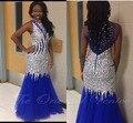 2017 Azul Royal Bling Sereia Vestidos de Baile De Alta Pescoço Cristais Beading Luxo Africano Vestido de Noite Longo Festa Formal Vestidos Vestido