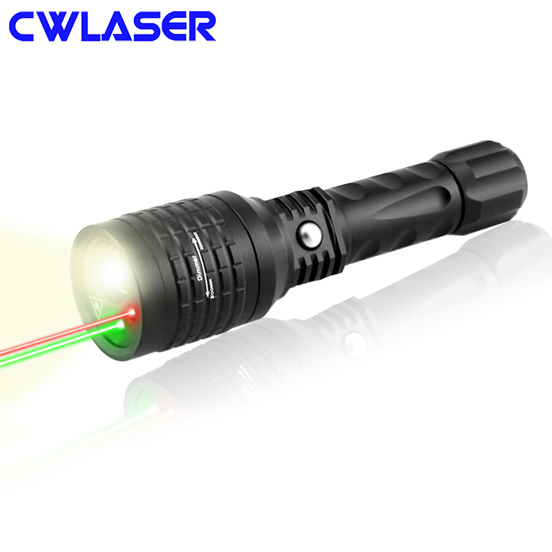 цена на CWLASER 3-in-1 4-Mode 5mW 532nm Green & 5mW 650nm Red Laser Pointer with Zoomable 600 Lumens LED Flashlight (Black)