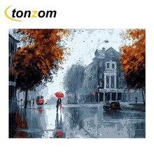 RIHE Rainy Street Diy Painting By Numbers Lover Oil House Cuadros Decoracion Acrylic Paint On Canvas Modern Wall Art