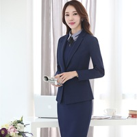 Formal Uniform Design Slim Fashion 2017 Autumn Winter Business Suits With Blazer Dress For Ladies Blazers