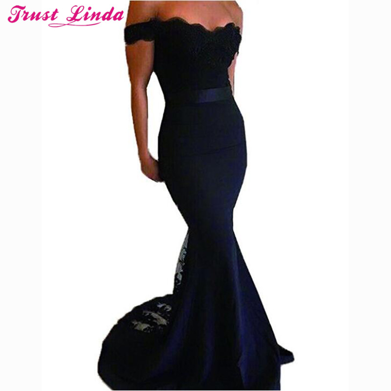 Sexy Sweetheart Cap Sleeve Navy Blue Mermaid   Bridesmaid     Dresses   Lace Appliques Long Prom Gowns Bridal Party Wear   Dress   2018