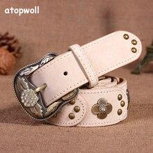 Korean Style Vintage Rhinestones Retro Ladies Leather Belts For Women jeans Patch Antique Belt Version Ceinture Femme Waistband