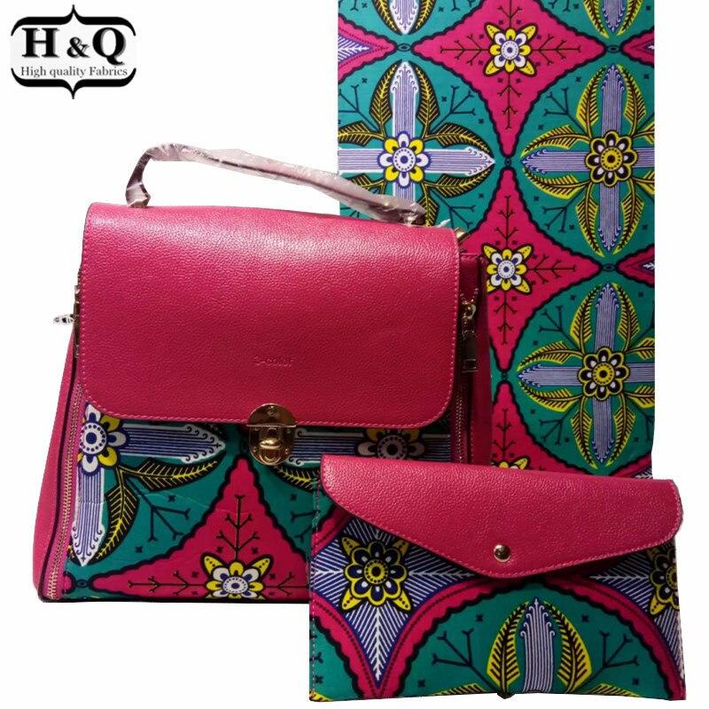 High quality african wax shoulder bag set Fashion woman s wax bag matching 6 yards pcs