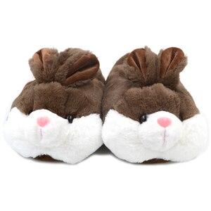 Image 5 - Millffy adorável coelho rosa de pelúcia inverno quente chinelos de veludo confortável interior sapatos hamster bunny chinelos de gato de pelúcia