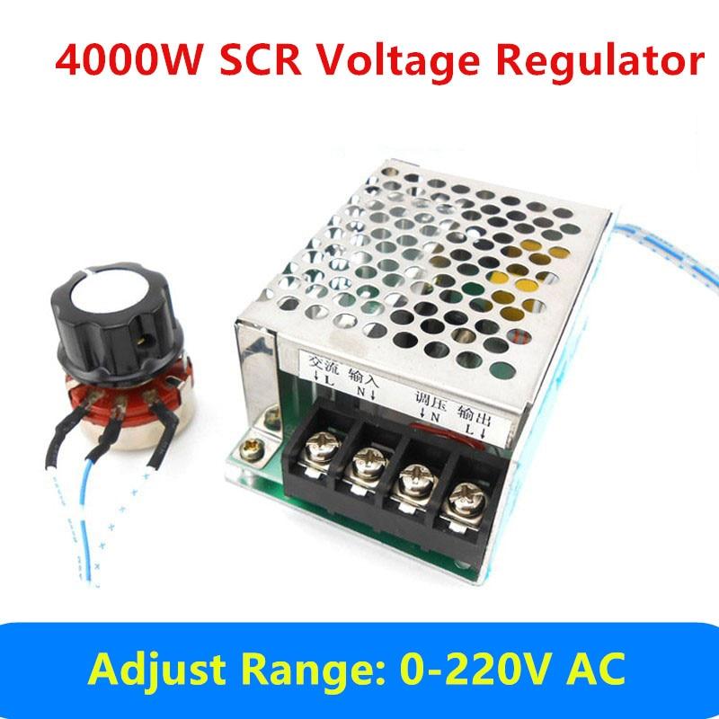 4000W AC 0v - 220V SCR High Power Voltage Regulator Stabilizer Adjustable Dimming Temperature Motor Speed Control module free shipping 50pcs ams1117 5 0v ams1117 lm1117 1117 5 0v voltage regulator sot 89