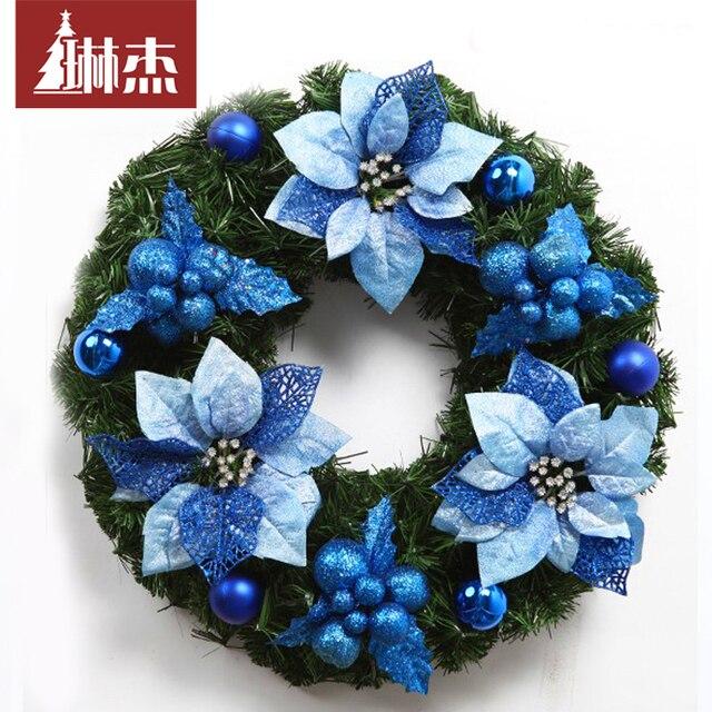 san xiao lin jie christmas wreath decorated wreath 45cm 50cm 60cm blue christmas ornament hotel - Blue Christmas Wreath