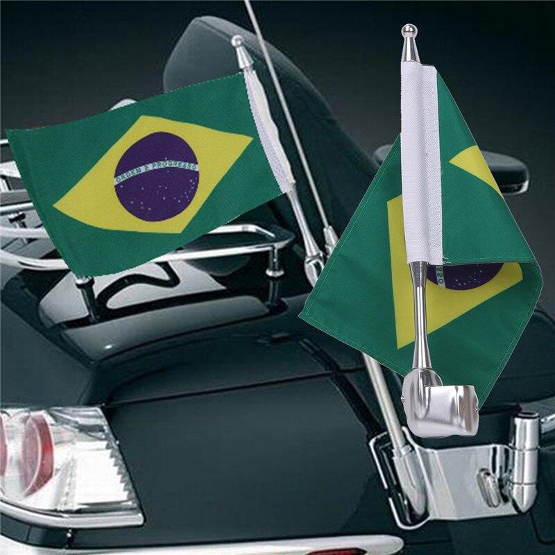 Мотоцикл алюминий + ткань Регулируемый флаг Полюс держатель и американский флаги Германия Бразилия Япония для Harley Хонда с/5