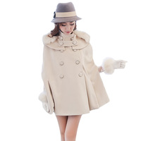 Women Cashmere Cloak Coat Beige Fur Collar Double Breasted Loose Woolen Female Cape Batwing Sleeve Winter Poncho Oversized XH786