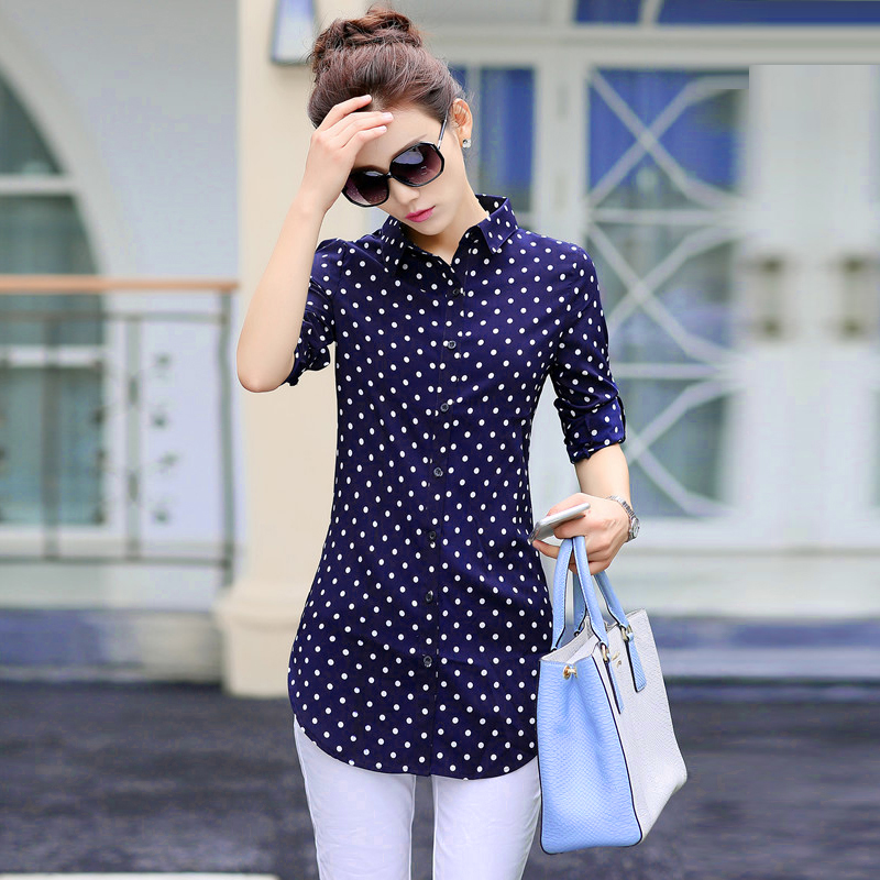 Blouses & Shirts 2019 New Style Fashion Womens Long Sleeve White Shirts Plaids Pattern Lapel Casual Blouse Tops