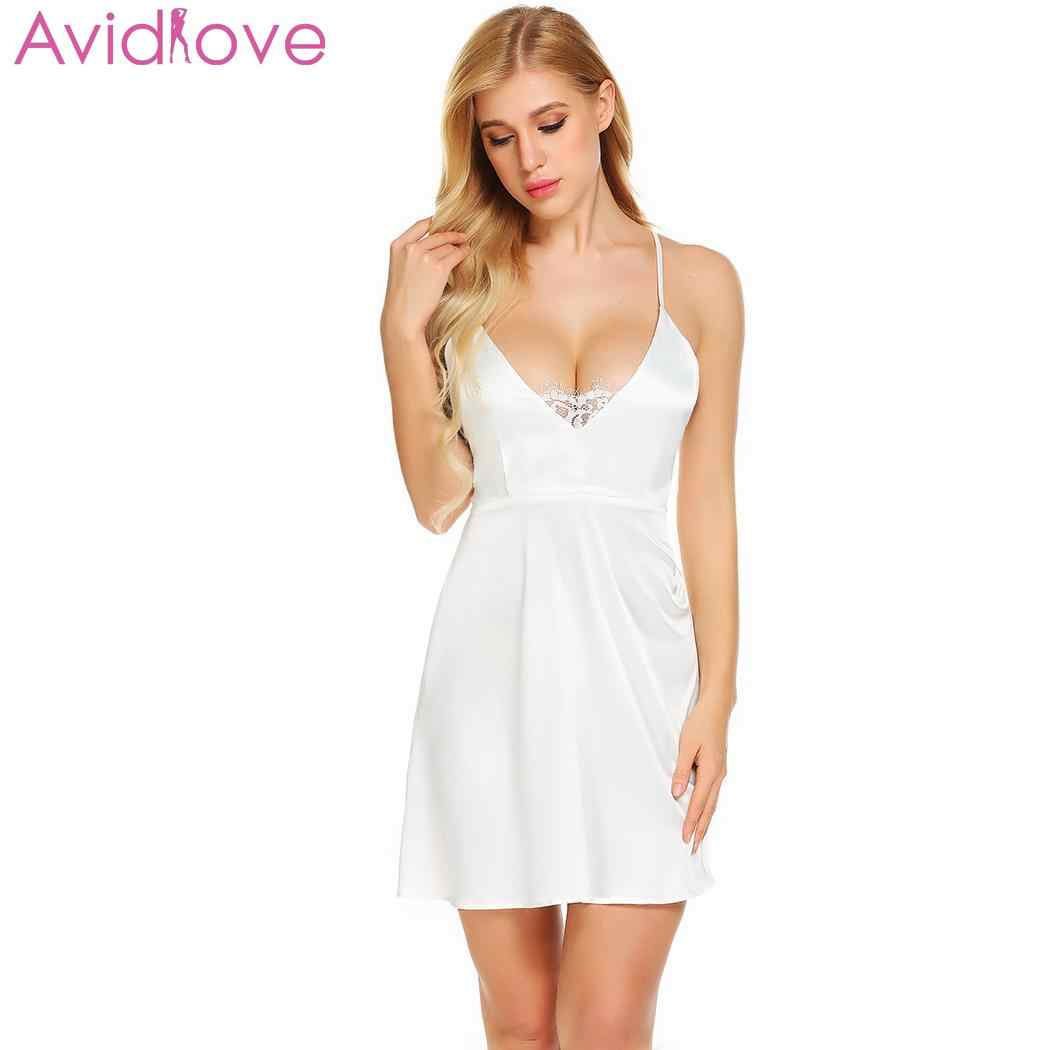 8cb6ee788f ... Avidlove Women s Night Dress Nighty Nightwear Nightgown Backless Sexy  Lingerie Lace Satin Babydoll Chemise Sleepwear ...