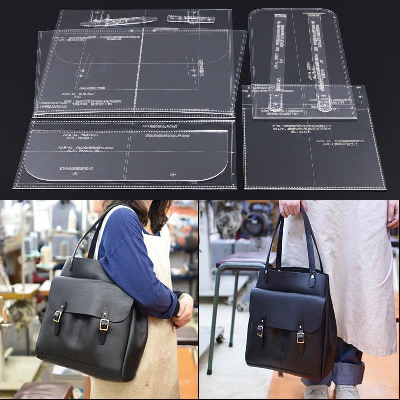Handmade ออกแบบหนัง DIY กระเป๋าหนังออกแบบแม่แบบกระเป๋าไหล่เดี่ยวกระเป๋าถืออะคริลิครุ่นแม่พิมพ์แม่พิมพ์ 33X35X16 ซม.-ใน รูปแบบการเย็บ จาก บ้านและสวน บน   1