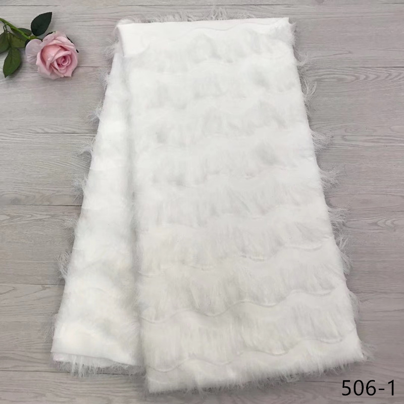 African French Lace Fabric High Quality 2019 Chiffon Tassels Net Fabric, Bridal White 506