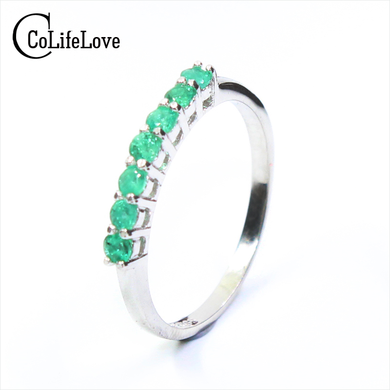 100 natural emerald ring solid 925 sterling silver emerald ring 2 5mm round natural emerald gemstones