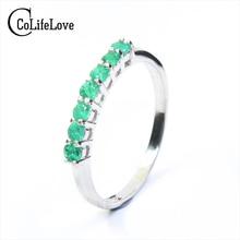 100% натуральный изумруд кольцо Solid 925 стерлингового серебра Изумрудное кольцо 2.5 мм круглый натуральный изумруд камни Кольцо Простой дизайн кольцо