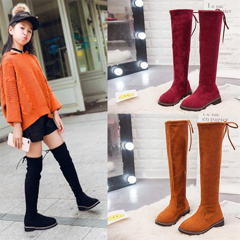 0931145880fc Autumn Winter Girls Boots Children High Boot With Fur Girls Princess Over -the-knee Dress Shoes Kids Fashion Boots For Girls