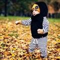 Ano novo 2 Pcs Bebê Menino Menina Set Roupas Infat crianças Com Capuz Roupas Bebês Menina Moletom Com Capuz Listrado Tops + Pants 2 pcs Roupas roupas