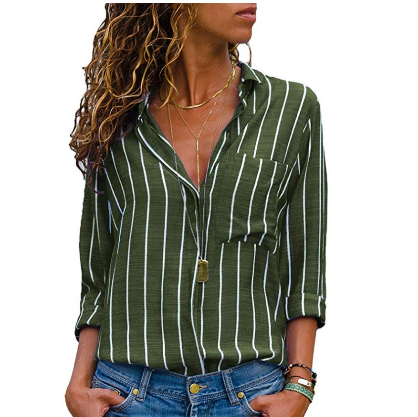 yellow Grandes Striped 4xl Tamaño Striped Striped Striped Rayas gray Moda Mujer Blusas 2018 Manga Striped green Camisa A Black Cuello 5xl Blusa blue Striped Plus De Larga Sizes red rqrIfpaw