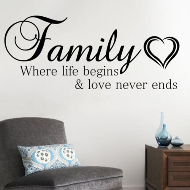 Family Where Life Begins And Love Never Ends Wall Sticker Quote Living Room