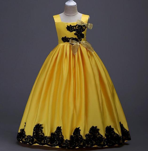 a18707fcca Ładny Kwiat Dziewczyna Sukienki Na Wesela 2018 Żółty Dziewczyny Sukienka  Pagneant Pierwsza Komunia Sukienki Dla Dziewczynek