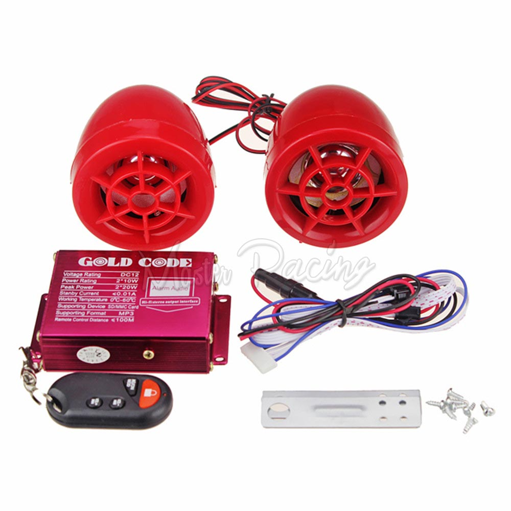 MP3 Amplifier FM Radio Audio Stereo Speaker System with Anti-Theft Alarm for Motorcycle Scooter ATV 12V