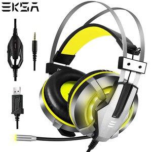 Image 1 - Eksa e800 gamer fone de ouvido macio earpads sobre a orelha gaming headset azul amarelo fones de ouvido com girar mic led luz para ps4 pc xbox