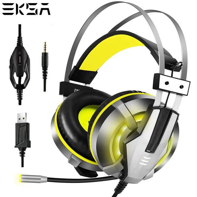 Eksa e800 gamer fone de ouvido macio earpads sobre a orelha gaming headset azul amarelo fones de ouvido com girar mic led luz para ps4 pc xbox