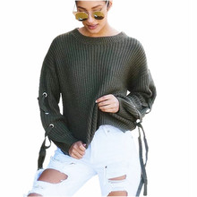 2017 Autumn Loose Lace Up Knitted Sweaters  Long Sleeve Oversized Pullovers Casual Women Sweater Winter Crop Tops A8312