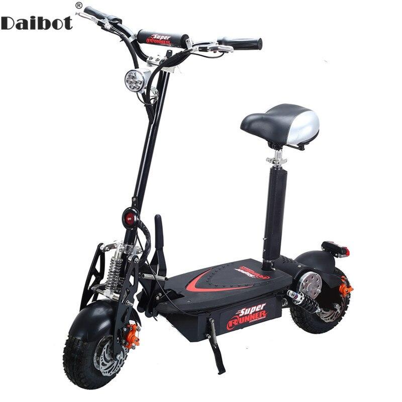 Daibot trottinette électrique 1500 W Deux Roues trottinette électrique s Avec Siège 10 Pouces 48 V Hors Route Pliant Adulte Puissant vélo électrique