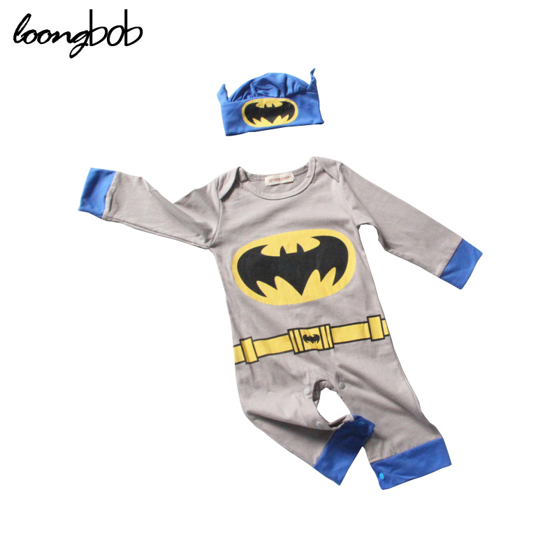 2Pcs Baby Girls Boys Clothing Set Toddler Cosplay Superman Batman Jumpsuit + Hat Halloween Party Costumes Infant Romper Outfits