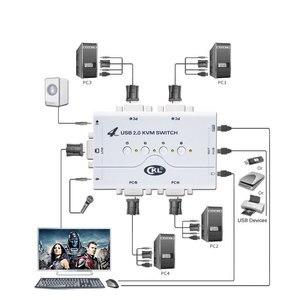 Przełącznik kvm VGA 4 Port USB 2.0 z kablami obsługa mikrofon audio do skanera, drukarki o wysokiej rozdzielczości 2048*1536 CKL-41UA