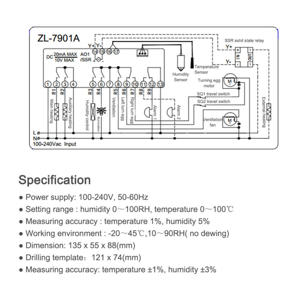 hight resolution of  zl 7901a multi function incubator controller pid temperature control 100 240v high