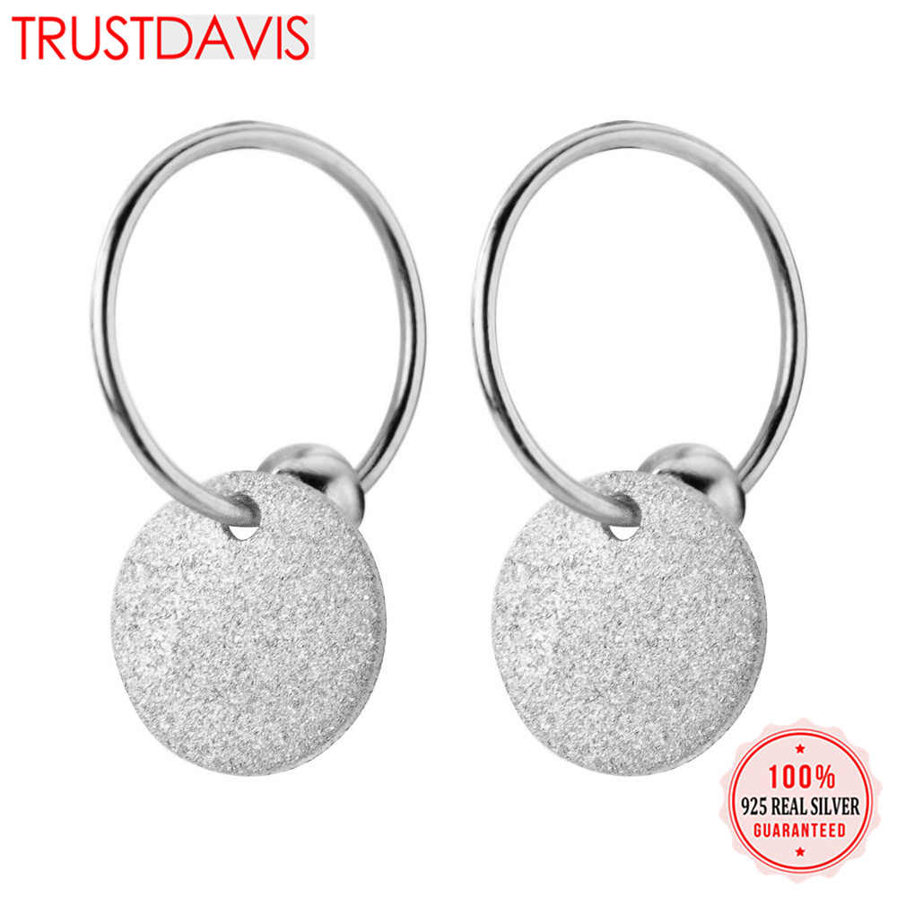 Trusta Womens Fashion 100% 925 Solid Sterling Silver Wafer Charm Stud Earrings For Women Sterling-silver-jewelry DS1175