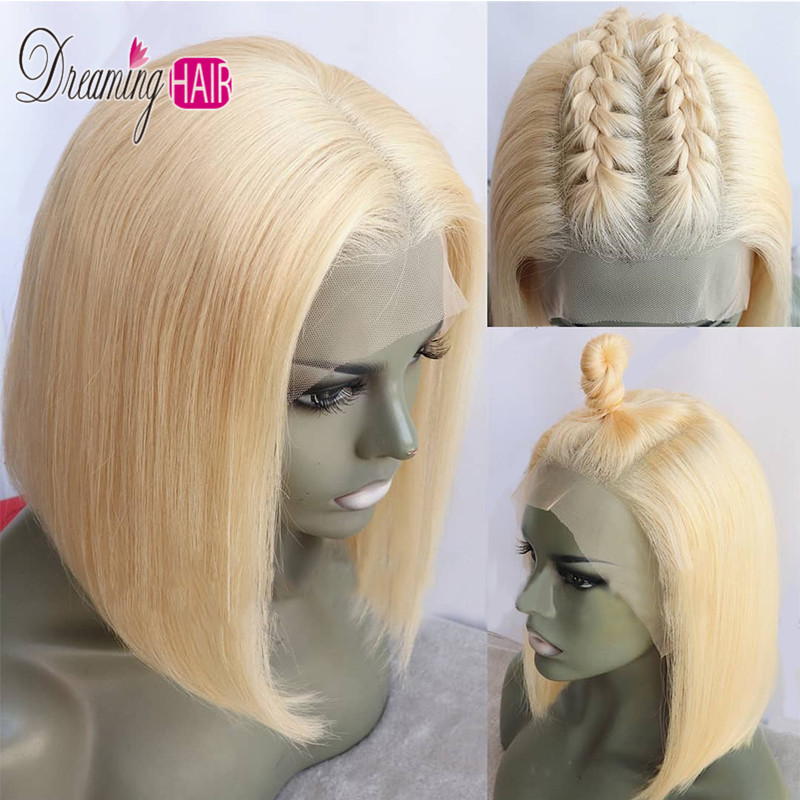 HTB1EAiLbbr1gK0jSZFDq6z9yVXa9 13x6 Blue Bob Lace Front Human Hair Wigs Pre Plucked 613 Honey Blonde Purple Green Burgundy Yellow Ombre Colored Human Hair Wigs