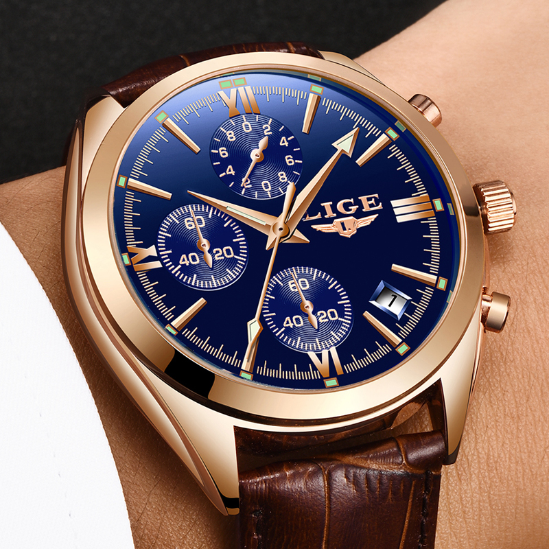 Luxury Quartz Cronograph Watch Leather Band