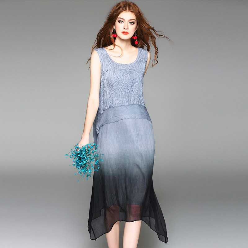 High Quality 100 Silk Fabric Dress Gradient Color Appliques Sleeveless Loose Straight Dresses Elegant Style New