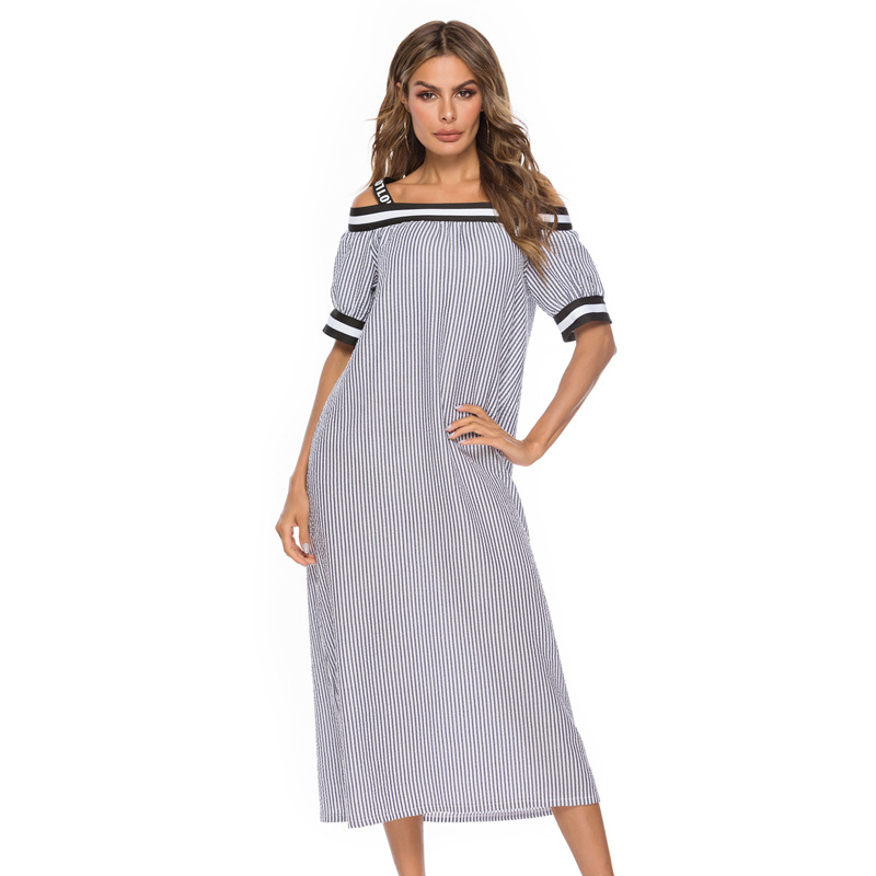 Women's   Nightgown   Long Off Shoulder Nightdress Spaghetti Strap Sleepwear Sexy   Nightgowns   Lingerie Nightshirt Strip   Sleepshirt