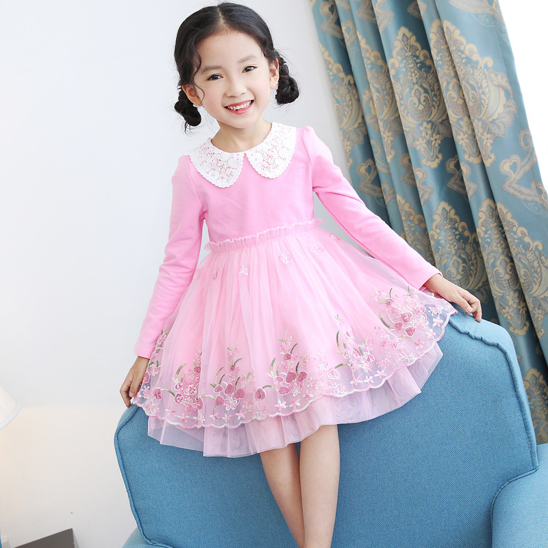 Floral Children Evening Dresses for Girls 2018 Spring O-neck Cotton Kids Princess Dress Baby Girl Sweet Lace Kids Clothes 3ds338 ladybird appliques dress wholesale clothing for girls princess baby boutique o neck clothes children polka dot dresses 6pcs lot