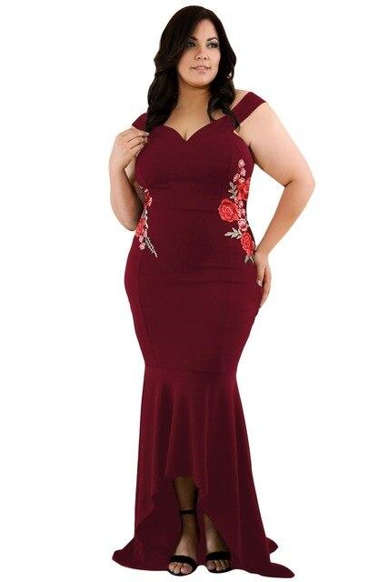 Women Embroidery Roses Mermaid Plus Size Dress Ladies Sexy Black