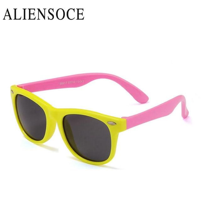 d28d8779bf9e7 ALENSOCE Flexível Crianças Óculos De Sol Polarized Revestimento de Óculos  de Sol UV400 Óculos Shades Infantil