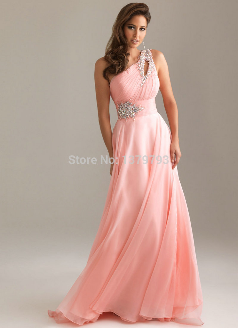 Backless One Shoulder Formal Gowns Prom Sexy Long Evening Dress ...