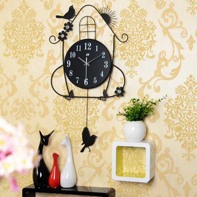 Iron Rocking bird wall clock modern design Quartz clocks large wall arts and crafts for living room bedroom home decor